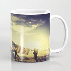 Soldiers Raising An American Flag At Sunset Mug