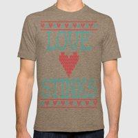 Love Stinks Cross Stitch Mens Fitted Tee Tri-Coffee SMALL