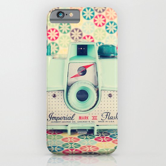 Film Mint Camera on a Colourful Retro Background  iPhone & iPod Case