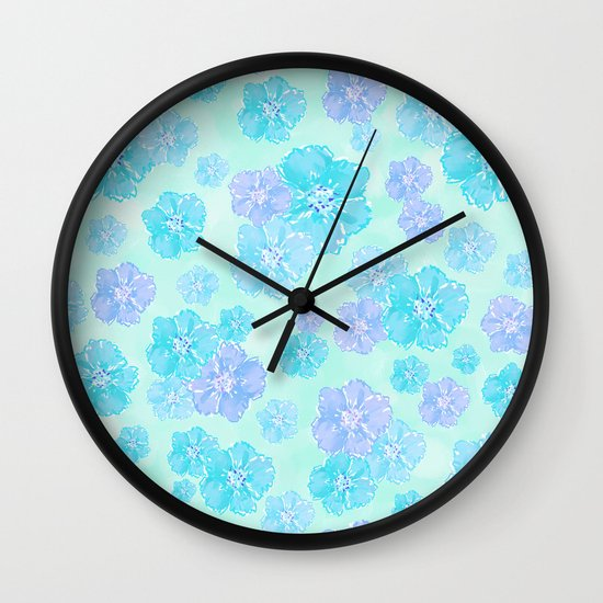 Blossoms Aqua Blue Mint Wall Clock