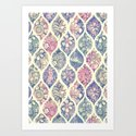 Patterned & Painted Floral Ogee in Vintage Tones Art Print