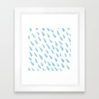 Blue Rain Drops Framed Art Print