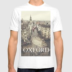 Red buses at Oxford Mens Fitted Tee White SMALL