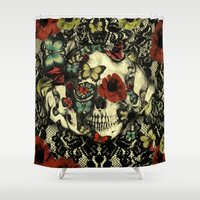 Vintage Gothic Lace Skull Shower Curtain
