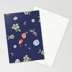 Floral with Birds on blue Stationery Cards