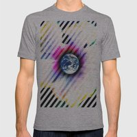 WORLD TURNS Mens Fitted Tee Athletic Grey SMALL