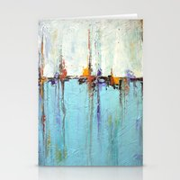 """Abstract White and Blue Painting – Textured Art – """"Sailing""""  Stationery Cards"""
