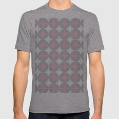 circles pattern Mens Fitted Tee Athletic Grey SMALL