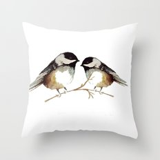Winter Chickadees Waterc… Throw Pillow