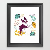 Happy Fall, Dogs! (Bosto… Framed Art Print