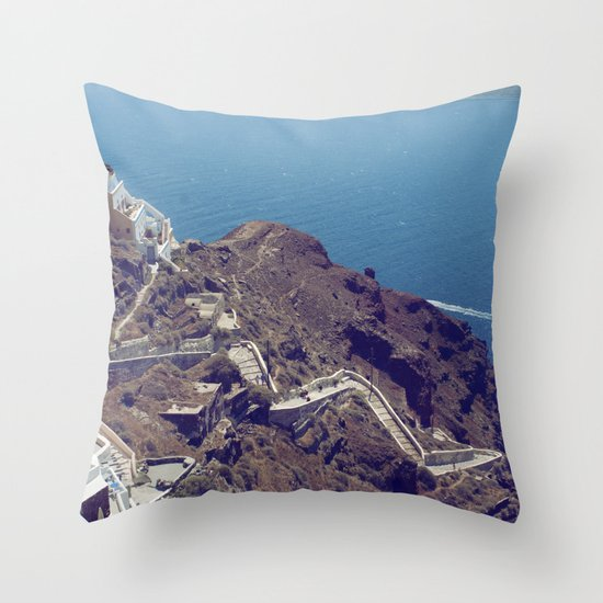 Santorini Stairs Throw Pillow
