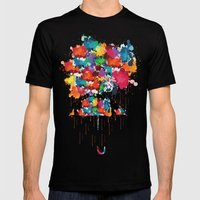 Rainbow rainy day Mens Fitted Tee Black SMALL