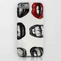 iPhone & iPod Case featuring black lips red mouth by Grettyworks