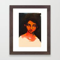 Little Red without her hood Framed Art Print