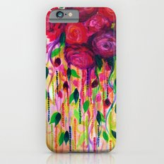 ROSES ARE RAD - Bold Fun Red Roses Floral Bouquet Vines, Flowers Abstract Acrylic Painting Fine Art Slim Case iPhone 6s