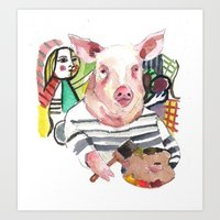 Pablo Pigcasso Art Print