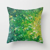 LAKE GRASS - Original Ac… Throw Pillow