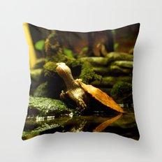 Mr. Turtle Workin' On His Tan Throw Pillow
