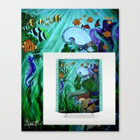Mermaid Shower Curtain A… Canvas Print