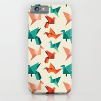 iPhone Cases featuring teal paper cranes by nicole martinez