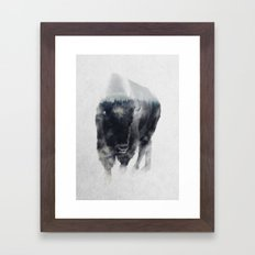 Bison In Mist Framed Art Print