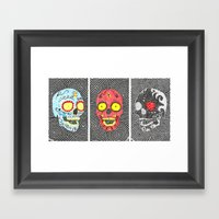 3 Sugar Skulls Framed Art Print