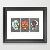 3 Sugar Skulls Framed Art Print