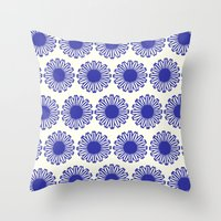 Vintage Flower Blue Throw Pillow