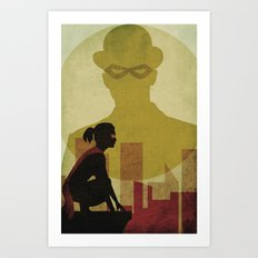 Who is the man in the bowler? Superheroes SF Art Print