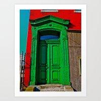 The Old Green Door  Art Print