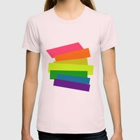 Retro Rainbow  Womens Fitted Tee Light Pink SMALL