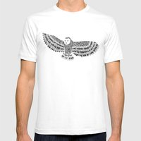Black and White Barn Owl Beaut Mens Fitted Tee White SMALL