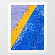 Abstract Blue and Yellow Art Print