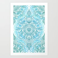 Turquoise Blue, Teal & W… Art Print