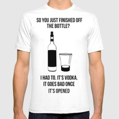 It's vodka. It goes bad once it's opened.  Mens Fitted Tee SMALL White