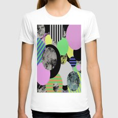 Cluttered Circles - Abst… Womens Fitted Tee White SMALL