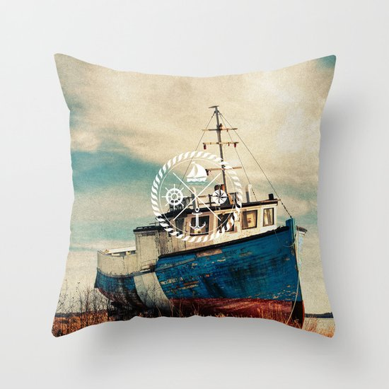 Blue Brown Vintage Nautical Anchor Sailing Boat Throw Pillow