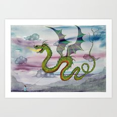 Dragon Kite Art Print