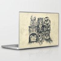 owls Laptop & iPad Skins featuring Nine Owls by Rachel Caldwell