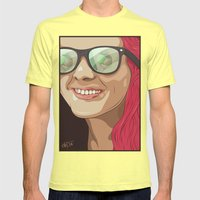 Girl with glasses Mens Fitted Tee Lemon SMALL