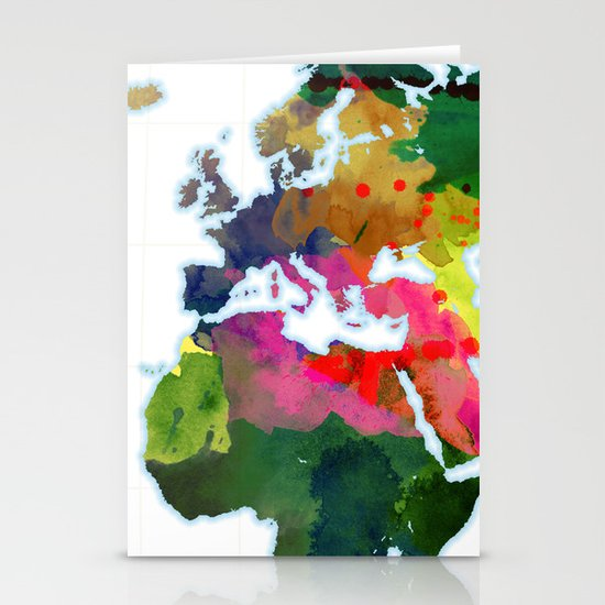 Watercolor World Map #3 Stationery Card