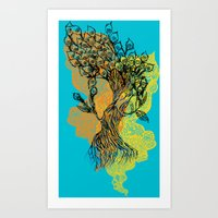 peacock tree Art Print