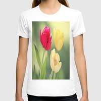 Red & Yellow Tulips Womens Fitted Tee White SMALL