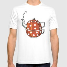 Tea party  White SMALL Mens Fitted Tee