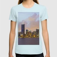 Miami Skyline Womens Fitted Tee Light Blue SMALL