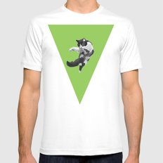 Dancing Cat Mens Fitted Tee SMALL White