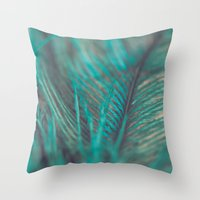 Turquoise Feather Close … Throw Pillow