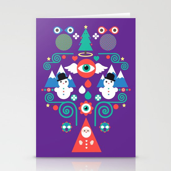 Christmas - purple pop Stationery Card