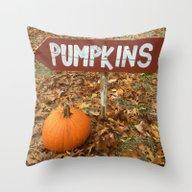 Pumpkin Sign Throw Pillow