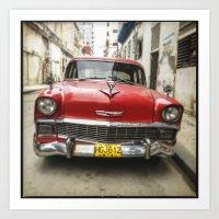 Vintage Red American Car on the Streets of Havana. Art Print